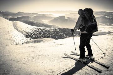 Skialpinist on snowy mountain, Symbol Sporting Activities, Man Alone In Alps, skialpinist Background, Symbol Winter Sports