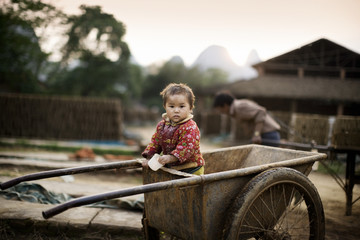 Portrait of a toddler in wheel barrow.