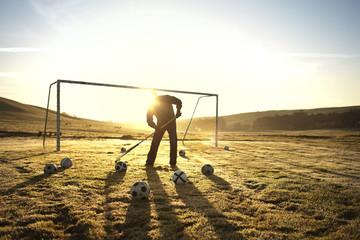 Groundskeeper raking a soccer field.