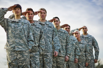 Portrait of a line of US Army soldiers saluting.
