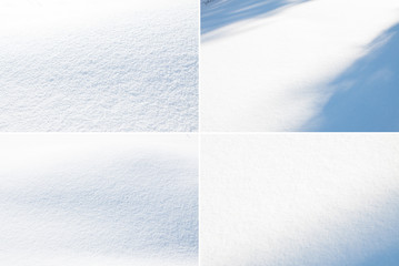 fresh snow background,four different snow texture.