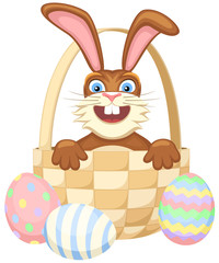 Vector illustration of a happy cartoon Easter Bunny in a basket.