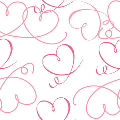 Seamless pattern of red hearts on white background for Valentine's day or wedding