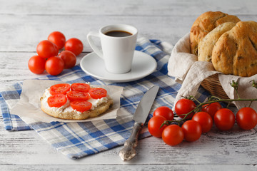 healthy breakfast with fresh tomato and coffee