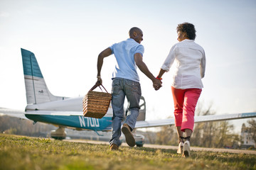 Couple going on picnic together.