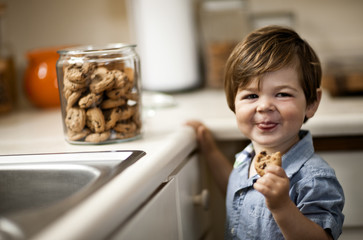 Toddler boy eating cookies in the kitchen.