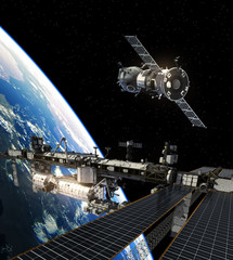 Fotobehang - International Space Station And Spacecraft