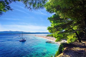 Beautiful beach Zlatni Rat or Golden Cape on island Brac in Croatia