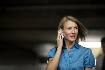 Businesswoman talking on a cell phone.