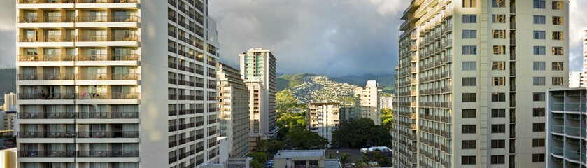 View of apartment buildings.