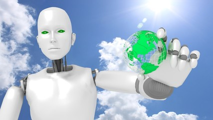 Female robot in front of sunny sky holds a green globe