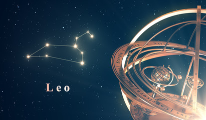 Zodiac Constellation Leo And Armillary Sphere Over Blue Background