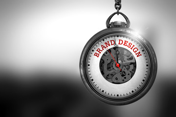 Brand Design on Watch Face. 3D Illustration.