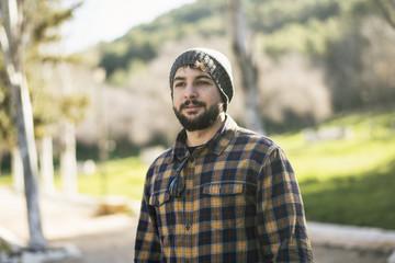 Bearded man posing in outdoors. Jaen, Spain.