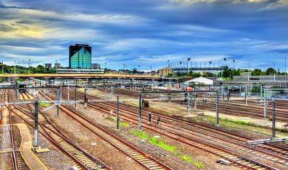 View of Flinders Street railway station in Melbourne, Australia