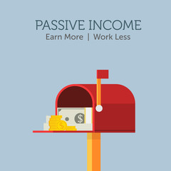 Passive Income Illustration, Stack of cash on red mailbox