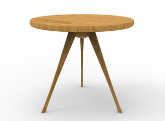 3d illustration of wooden table. white background isolated. icon for game web.