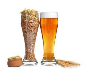 Glasses of beer and barley seeds with hops on white background