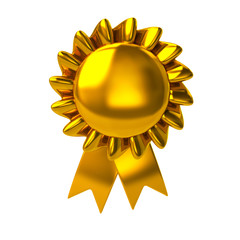 Golden badge with ribbons