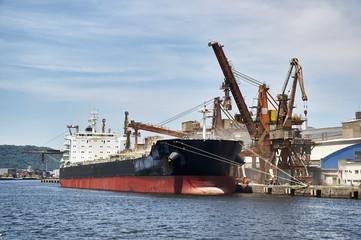 Ship docked in port of Santos, Brazil