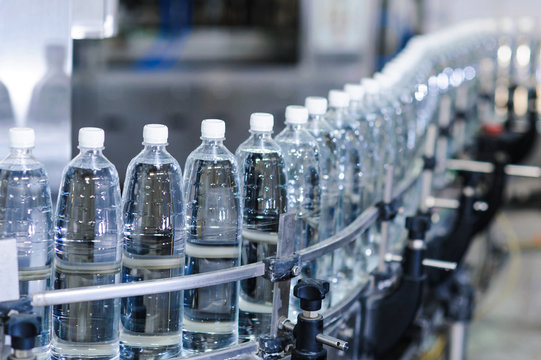 water bottles on the a production line