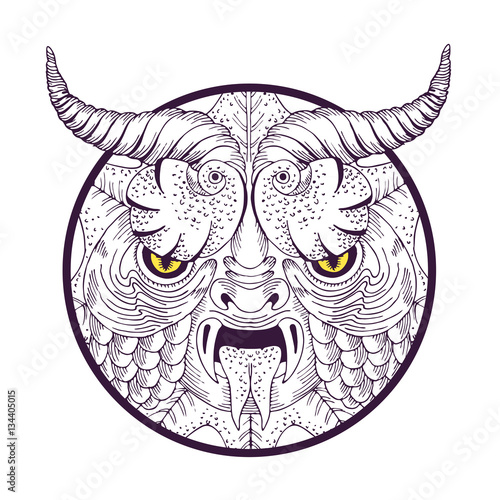Scary face mask - vector hand drawn illustration  Looking
