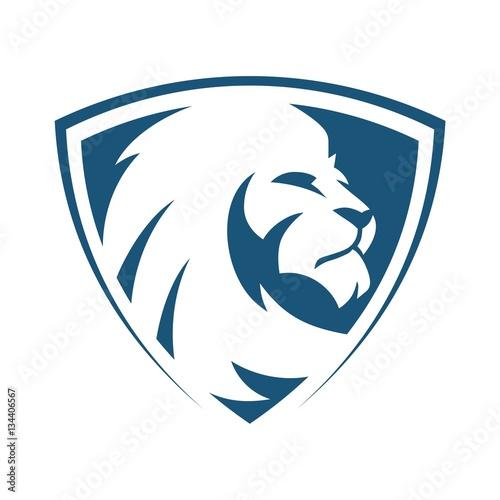 Lion head shield blue