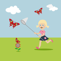 Little girl with a butterfly net in hand runs on a glade and catch butterflies. Cartoon character in a flat style. Vector, illustration EPS10.