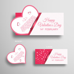 Vector set of greeting card for Valentine's Day insert in case with light pattern and stripe on the gradient gray background.