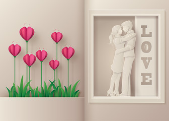 Greeting card of love and Valentine's Day.