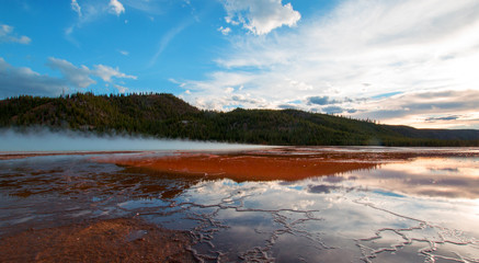 Grand Prismatic Spring at sunset in the Midway Geyser Basin in Yellowstone National Park in Wyoming US of A