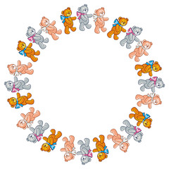 Cute teddy bears. Children toys. Vector clip art.