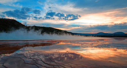Grand Prismatic Spring at sunset in the Midway Geyser Basin in Yellowstone National Park in Wyoming USA
