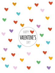 Happy Valentine´s Day card with typography and colorful hearts on white background.