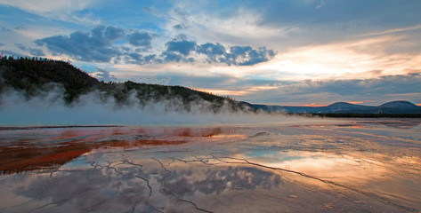 Grand Prismatic Spring at sunset in Yellowstone National Park in Wyoming U S A