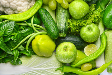 Green vegetables and fruits background