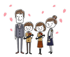 卒業式イメージ:両親と男の子と女の子