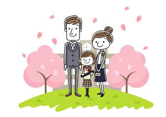 卒業式イメージ:両親と女の子
