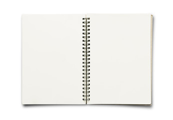 Opened blank binder notepad notebook, isolated on white backgrounds