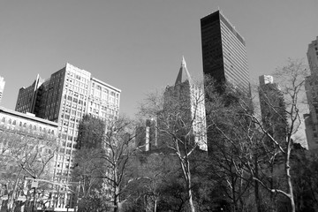 Buildings and streets in black and white, Manhattan New York.