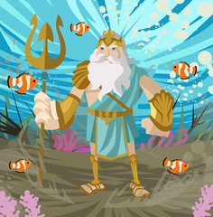 poseidon neptune greek roman god of the sea with trident underwater