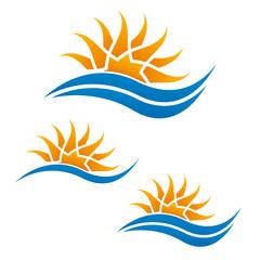 Sun wave logo. Travel logo template.