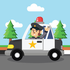 monkey police patrol illustration design