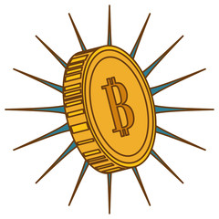 coin with letter b money related icon image vector illustration design