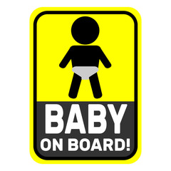 Baby on board yellow icon