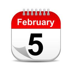 February 5 on calendar icon