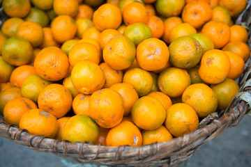 fresh small oranges from garden
