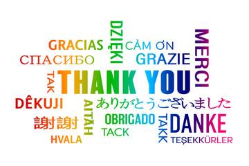 Schlagwortwolke – Danke in verschiedenen Sprachen - farbenfroh