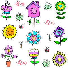 Vector illustration of spring set doodles