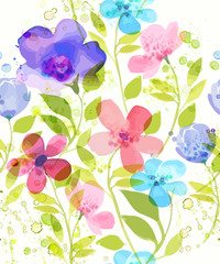 Watercolor flower seamless pattern. Vector illustration